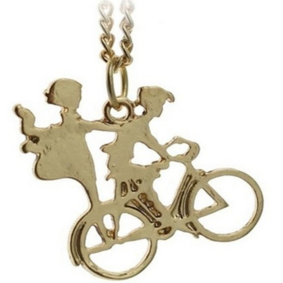 """Macy's Jewelry - """"Lovers ride on bike"""" pendant necklaces"""